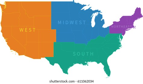 Usa Regions Map Images, Stock Photos & Vectors | Shutterstock