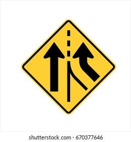 US road warning sign: Merging