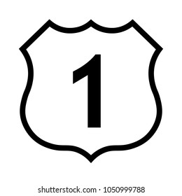US route 1 sign, black and white shield sign with route number, vector illustration.