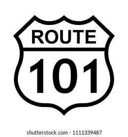 US route 101 sign, shield sign with route number and text, vector illustration.