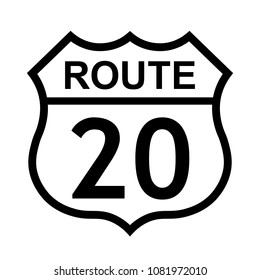 US route 20 sign, shield sign with route number and text, vector illustration.