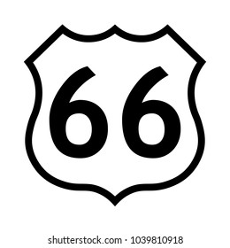 US route 66 sign, black and white shield sign with route number, vector illustration.