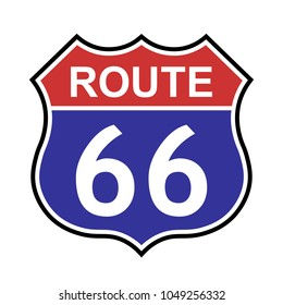 US route 66 sign, shield sign with route number and text, vector illustration.