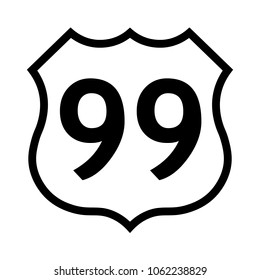 US route 99 sign, black and white shield sign with route number, vector illustration.