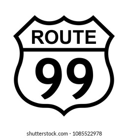 US route 99 sign, shield sign with route number and text, vector illustration.