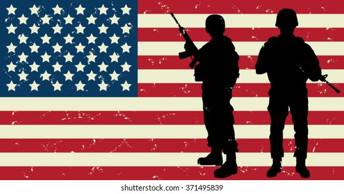 US Soldiers Front of the American Flag. Vector Illustration