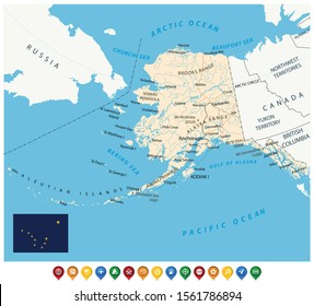 US State Alaska Political Map and map icons. US State Alaska Political Map with national borders, important cities, rivers and lakes.