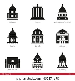 US State Capitols (Part 1) - Glyph Icon Set