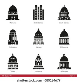 US State Capitols (Part 2) - Glyph Icon Set
