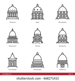 US State Capitols (Part 3) - Line Style Icons