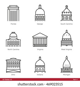 US State Capitols (Part 4) - Line Style Icons