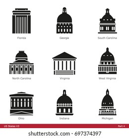 US State Capitols (Part 4) - Glyph Icon Set
