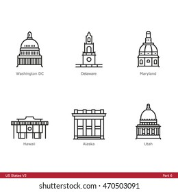 US State Capitols (Part 6) - Line Style Icons