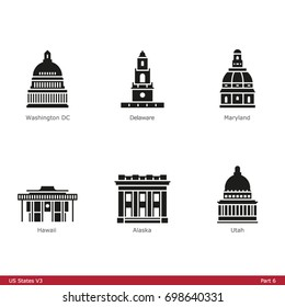 US State Capitols (Part 6) - Glyph Icon Set