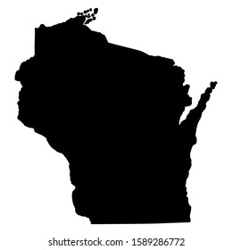 U.S. state of Wisconsin Map Silhouette Vector illustration Eps 10