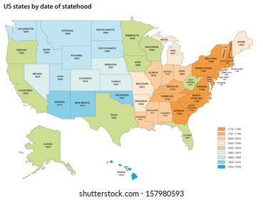 us states by date of statehood map