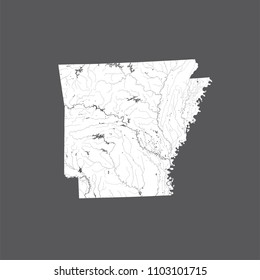 U.S. states - map of Arkansas. Hand made. Rivers and lakes are shown. Please look my other images of cartographic series - they are all very detailed and carefully drawn by hand WITH RIVERS AND LAKES.