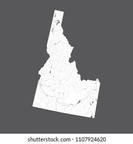 U.S. states - map of Idaho. Hand made. Rivers and lakes are shown. Please look at my other images of cartographic series - they are all very detailed and carefully drawn by hand WITH RIVERS AND LAKES.