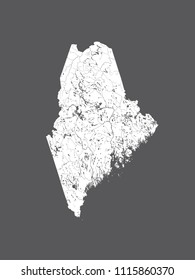 U.S. states - map of Maine. Hand made. Rivers and lakes are shown. Please look at my other images of cartographic series - they are all very detailed and carefully drawn by hand WITH RIVERS AND LAKES.