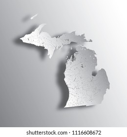 U.S. states - map of Michigan with paper cut effect. Please look at my other images of cartographic series - they are all very detailed and carefully drawn by hand WITH RIVERS AND LAKES.