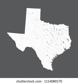 U.S. states - map of Texas. Hand made. Rivers and lakes are shown. Please look at my other images of cartographic series - they are all very detailed and carefully drawn by hand WITH RIVERS AND LAKES.