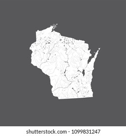 U.S. states - map of Wisconsin. Hand made. Rivers and lakes are shown. Look at my other images of cartographic series - they are all very detailed and carefully drawn by hand WITH RIVERS AND LAKES
