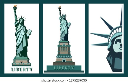 US Statue of Liberty. Set, Template, New York City Landmark. Poster sculpture, illustrations. Green logo on a white background. American symbol. Use presentations, text, emblems, labels, logo, vector