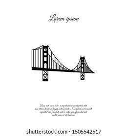 US symbol - Golden Gate Bridge. Vector landmark isolated over the white background. San Francisco, United States of America. Side view. Flat style illustration. icon black logo.