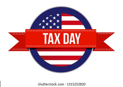 US tax time sign seal illustration isolated over a white background