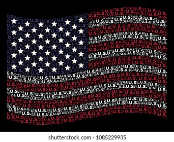 US text items are grouped into waving American flag abstraction on a dark background. Vector collage of USA state flag is done of US text items. Designed for political and patriotic propaganda.