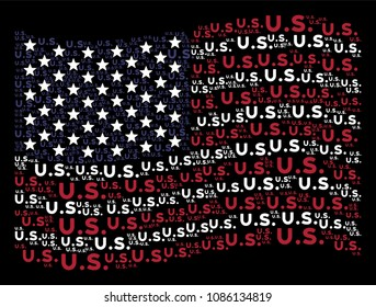 US text items are grouped into waving American flag abstraction on a dark background. Vector collage of American state flag is created with US text items.
