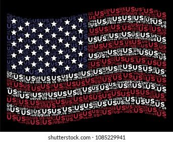 US text items are organized into waving American flag abstraction on a dark background. Vector composition of USA state flag is constructed of US text items.