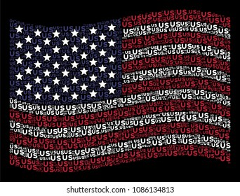 US text items are organized into waving USA flag stylization on a dark background. Vector composition of USA state flag is made from US text items. Designed for political and patriotic proclamations.