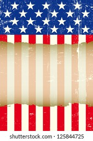 US torn flag. A dirty american flag with a large transparent frame for your message.