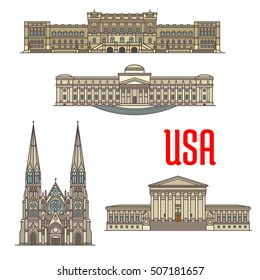 US tourist and travel attractions symbols. Detailed vector facades of United States Supreme Court, Library of Congress, Brooklyn Museum, St Patrick Cathedral