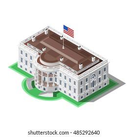 Us Usa Election infographic. Democrat Republican party convention hall. Washington DC white house latest news 3D flat isometric building senate congress tribune auditorium. Vector illustration