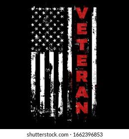 US Veteran. USA Army Flag. Military Patriotic Symbol.  Veterans Day  Illustration Grunge Design.