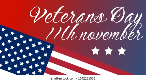 US Veterans day holiday. 11 november. American flag lettering design. Wide vector illustration