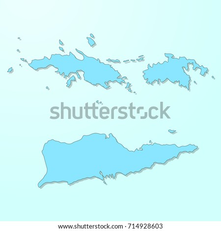 US Virgin Islands Blue Map On Stock Vector (Royalty Free) 714928603 ...