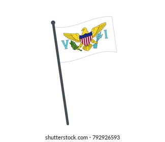 U.S. Virgin Islands flag. The national flag of U.S. Virgin Islands on a pole. The waving flag. The sign and symbol of the country. Realistic vector on white.