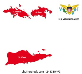u.s. virgin islands map with flag