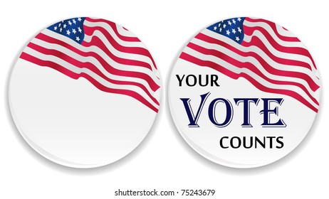US vote button with USA flag with blank