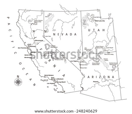 US West Coast Map Stock Vector (Royalty Free) 248240629 - Shutterstock