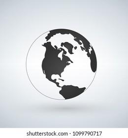 US world globe icon, vector illustration isolated on white background