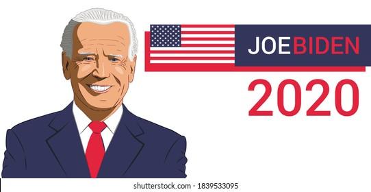 USA 2020. Presidential elections, voting. Joe Biden. Vector illustration.