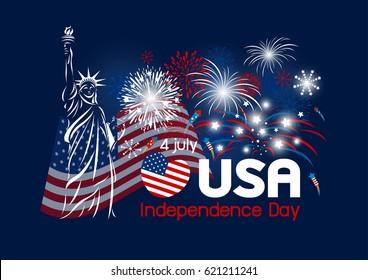 USA 4 july independence day design vector illustration