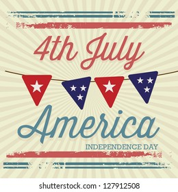 USA (4th July commemorative poster), vintage style. Vector illustration