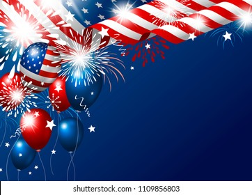 USA 4th of july happy independence day design of american flag and balloon with fireworks vector illustration