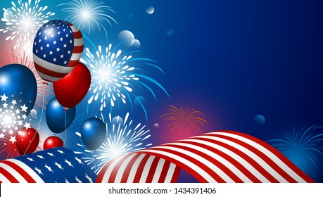 USA 4th july happy independence day design of american flag with fireworks vector illustration