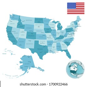 USA administrative blue-green map with country flag and location on a globe. Vector illustration